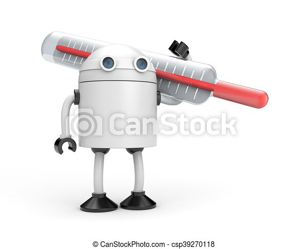 Robot with thermometer. 3d illustration - csp39270118