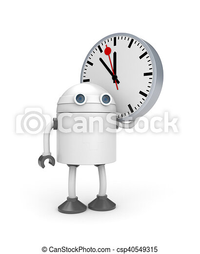 Robot with watch. 3d illustration - csp40549315