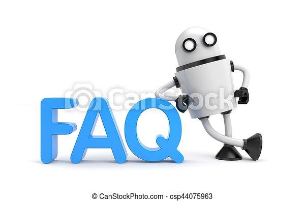Robot with word FAQ. 3D illustration - csp44075963