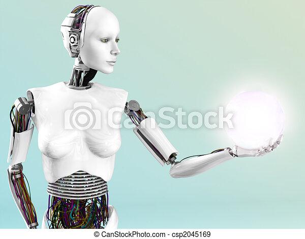 Robot woman holding energy sphere. - csp2045169