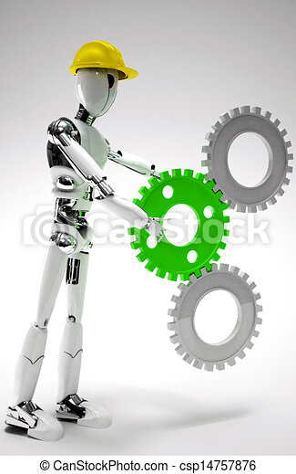 robot worker with gears - csp14757876