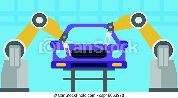 Robotic arm assembling car in assembly shop. - csp46663978