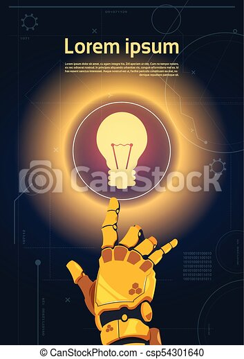 Robotic Hand Touch Light Bulb Button On Digital Screen Banner With Copy Space - csp54301640