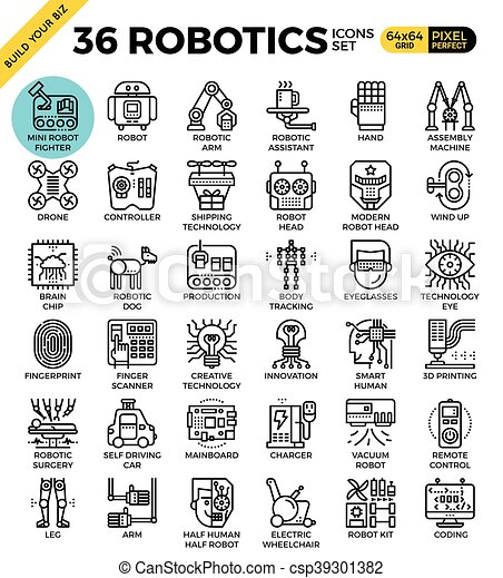 Robotic Technology Outline Icons Modern Style For Website Or Print