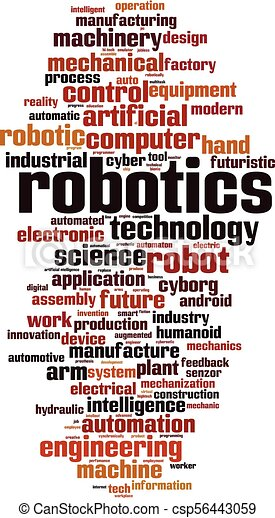 Robotics Word Cloud Concept Vector Illustration