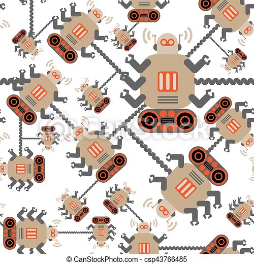 robots color seamless pattern on white eps vector csp