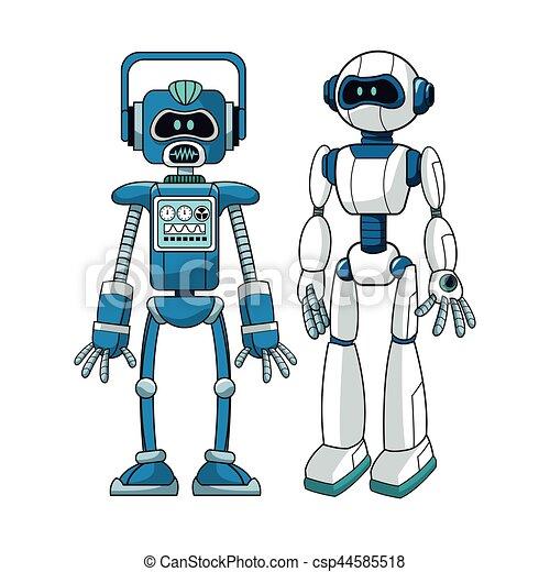 Robots Futuristic Engineer Design Vector Illustration Eps 10