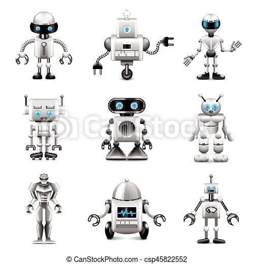Robots icons vector set - csp45822552
