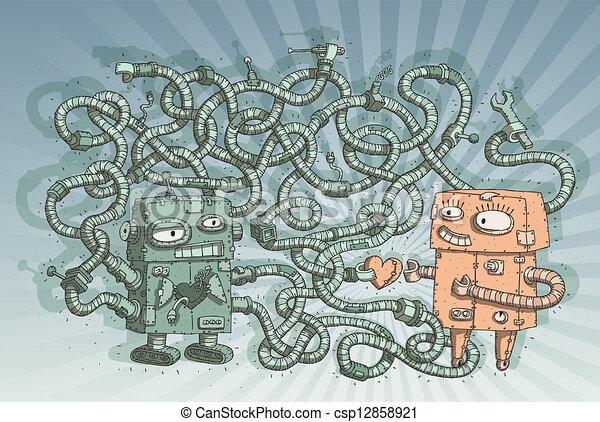 Robots in Love Maze Game - csp12858921
