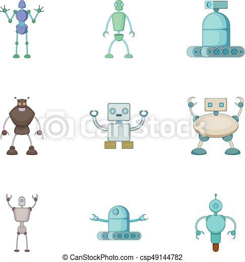 Robots invaders icons set, cartoon style - csp49144782