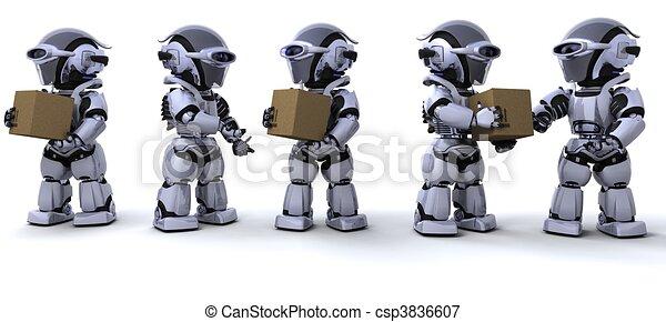 robots moving shipping boxes - csp3836607