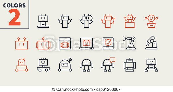 Robots Pixel Perfect Well-crafted Vector Thin Line Icons 48x48 Ready for 24x24 Grid for Web Graphics and Apps with Editable Stroke. Simple Minimal Pictogram Part 1 - csp61208067
