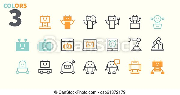Robots Pixel Perfect Well-crafted Vector Thin Line Icons 48x48 Ready for 24x24 Grid for Web Graphics and Apps with Editable Stroke. Simple Minimal Pictogram Part 1 - csp61372179