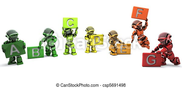 Robots with energy ratings signs - csp5691498