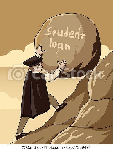 roccia, pesante, prestito, concetto, su, studente, grande, spinta, ripido, laureato, montagna - csp77389474