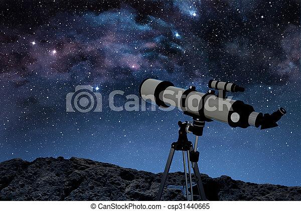 roccioso, stellato, cielo notte, sotto, suolo, telescopio - csp31440665