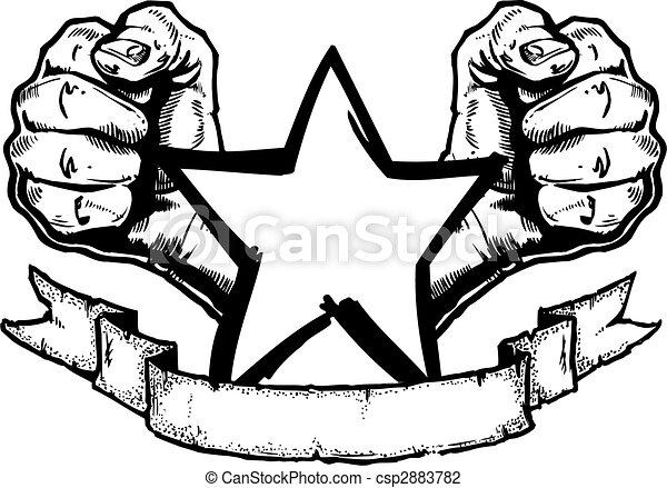 Rocher Banniere Metal Lourd Tatouage Rocher Banniere Leur Complet Metal Elements Seperate Tatouage Propre Style Canstock