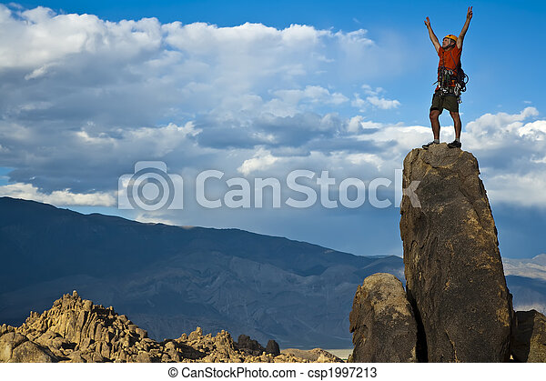 rocher, nearing, summit., grimpeur - csp1997213