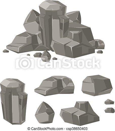 rocher, pierre, ensemble, vecteur, rocher, dessin animé - csp38650403
