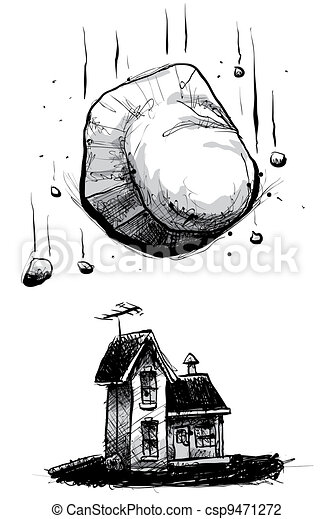 Rocher tomber maison tomber boulder menac dessin anim - Rocher dessin ...