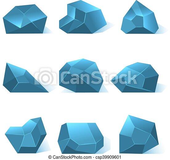 rocher, vecteur, ensemble, glace, morceaux - csp39909601