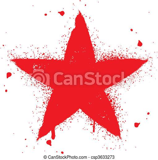 La estrella roja rocía tinta graffiti - csp3633273