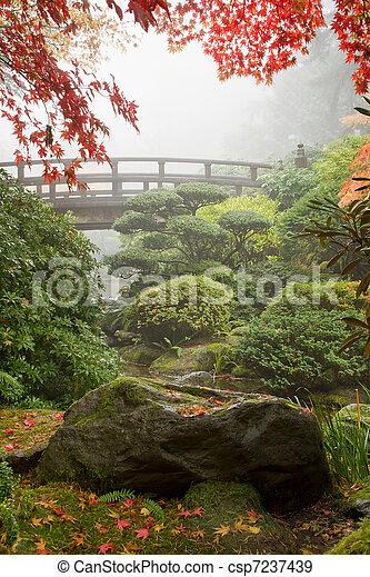Rock and Bridge at Japanese Garden - csp7237439