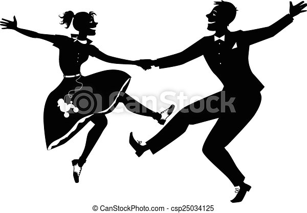 Rock and roll dancing silhouette - csp25034125