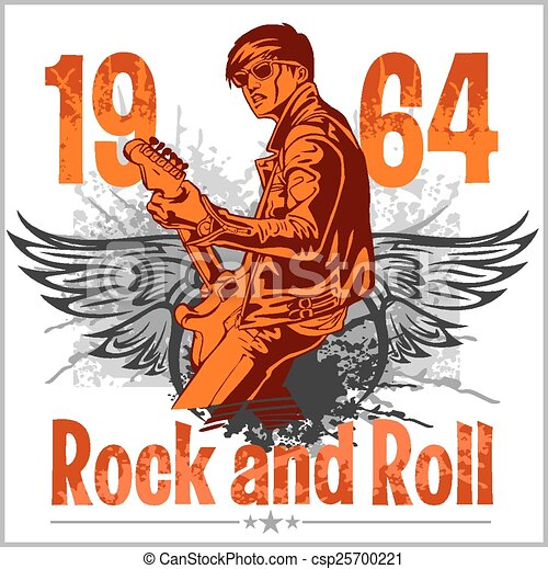 Rock and Roll Design - vector poster - csp25700221