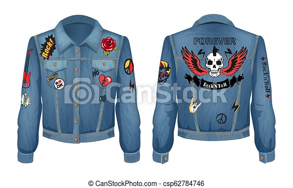 Rock and Roll Forever Prints Set on Denim Wear - csp62784746
