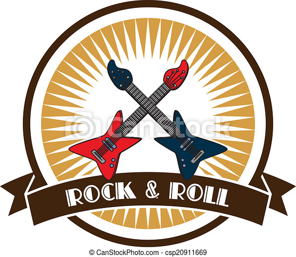 rock and roll guitar theme - csp20911669