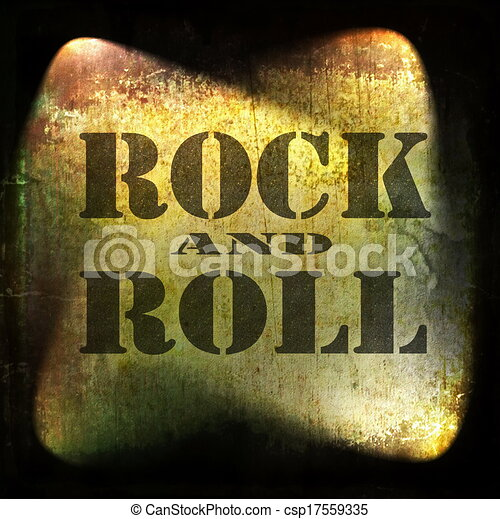rock and roll music, old rusty wall - csp17559335