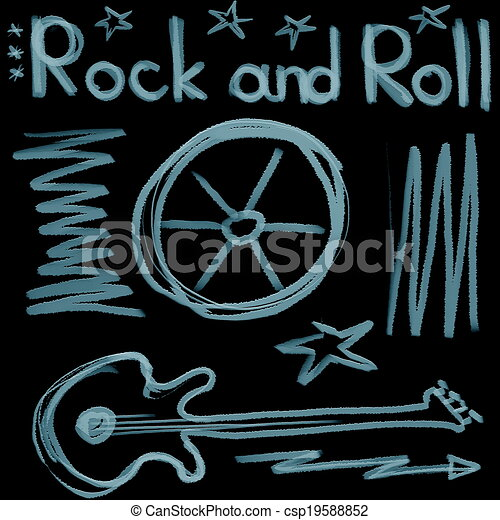 Rock and roll music word isolated  - csp19588852