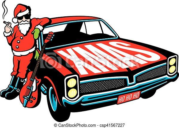 Rock and Roll Santa Claus vector design - csp41567227