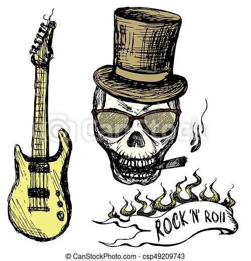 Rock and roll skull in hat and glasses ,guitar . - csp49209743