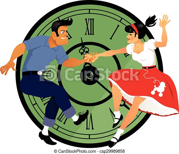 rock around the clock young couple dressed in 1950s fashion rh canstockphoto com 1950s clip art free 1950s clip art free printable