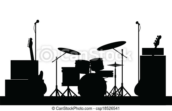 Rock Band Equipment Silhouette - csp18526541