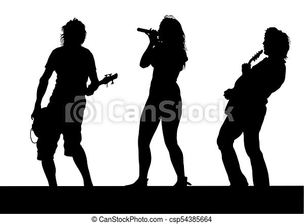 Rock Band People Two Musical Group People In Concert On Stage On