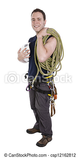 rock climber with equipment including rope, harness and helmet  - csp12162812