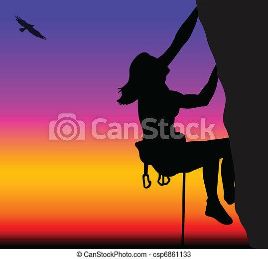 Rock climbing woman - csp6861133