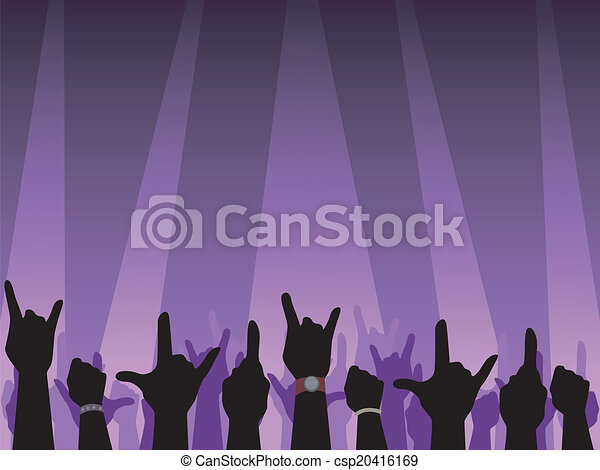 Rock concert silhouette. Illustration featuring hand ...