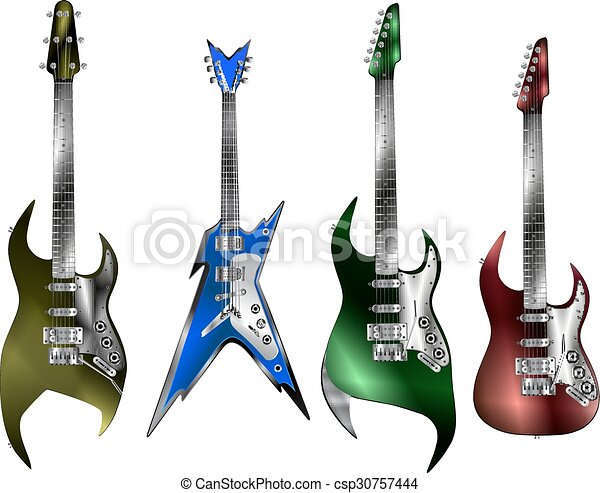 rock electric guitar rock electric guitars of different types isolated objects on a white. Black Bedroom Furniture Sets. Home Design Ideas