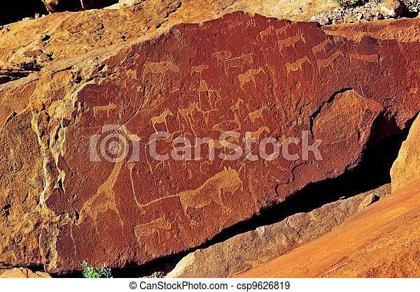 Rock engravings at Twyfelfontein, Namibia - csp9626819