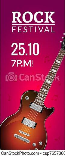 Rock Festival Flyer Event Design Template With Guitar Rock Banner Brochure Invitation
