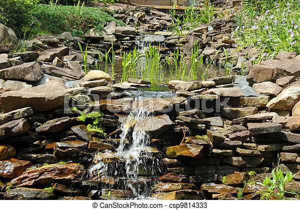 Rock Garden With Waterfall   Csp9814333