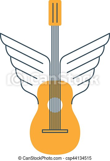 Rock Guitar Acoustic Music Thin Lines Icon And Logo Vector