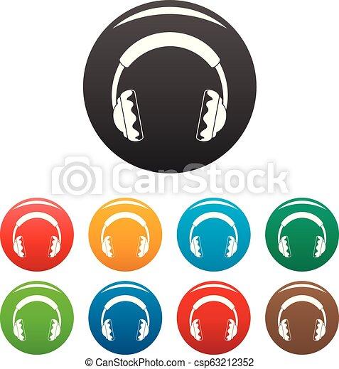 Rock headphones icons set color - csp63212352