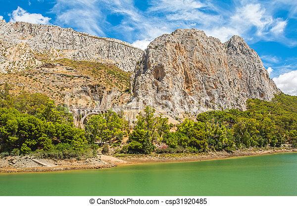 Rock mountain at El Chorro in Malaga - csp31920485