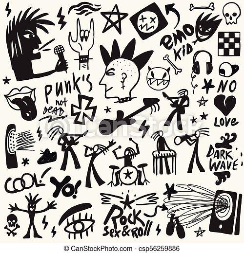 Rock Music Doodles Punk Rock Symbols Musicians Icons Vector