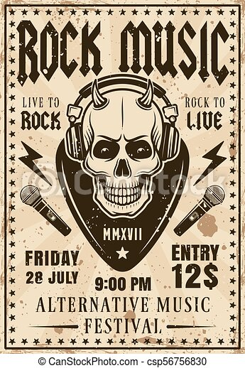 Rock music festival invitation vintage poster - csp56756830